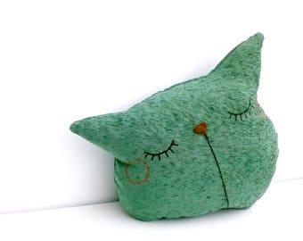 cat pillow, throw pillow, decorative, sofa pillow, cat cushion, sleepy kitty, couch pillow, pet pillow, boyfriend gift, green, pillow