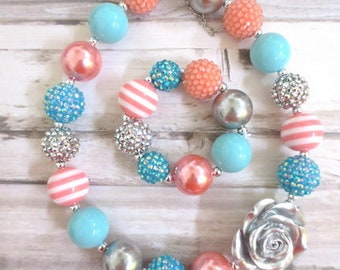 Coral Silver Turquoise Baby Necklace, Girl Necklace Set, Children Necklace, Toddler Necklace Set, Chunky Bead Necklace, Girl Bracelet