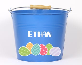 Personalized Easter egg Easter Pail - Choose The Color - Easter Basket Easter Bucket Easter Tin for Girls and Boys