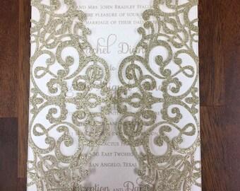 Stunning Lace Glitter Champagne Gold Laser Cut Wedding Invitations Wedding Die Cut Laser Cut Traditional Wedding Invites Laser Cut