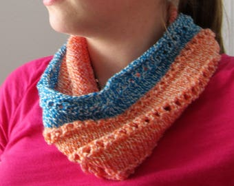 Knit Infinity Scarf, Lightweight Scarf, Infinity Scarf, Orange Infinity Scarf, Birthday Gift under 15, Pink and Blue Scarf, Summer Scarf
