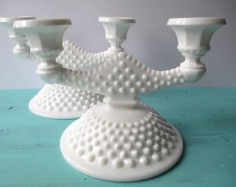 Vintage Fenton Milk Glass Hobnail Two Light Candleholder Pair - Elegant
