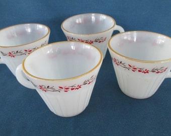Vintage Termocrisa Milk Glass Tea Cups Marked Drinkware Kitchen Dining