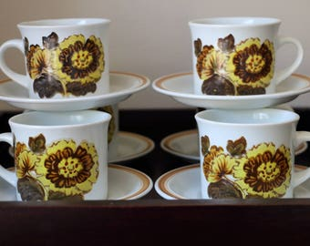 Royal Doulton Cups and Saucers - Set of 6, Forest Glen Pattern