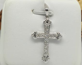 14K White Gold Natural Diamond Crucifix Pendant