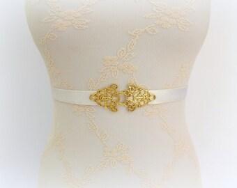 Ivory bridal belt. Stretch waist belt. Gold filigree dress belt. Elastic belt. Bridesmaids belt.