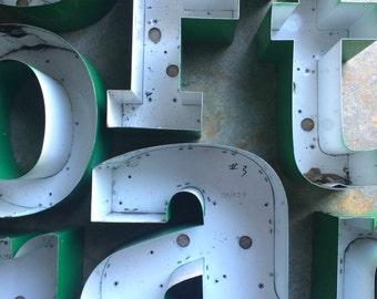 SUPPLIES...channel marquee letter backings ~ green backs ~ miss garden initials ~ industrial modern, metal,sign,wall decor,steampunk design