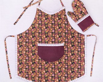 Kitchen apron for women with glove/handmade