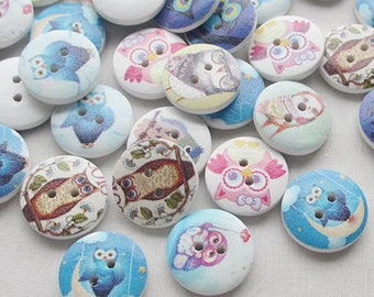 8 wooden buttons painted OWL motif and OWL