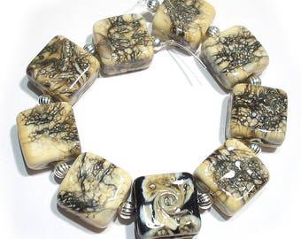 Handmade Glass SRA Lampwork Beads, Stonecutter   Tiles