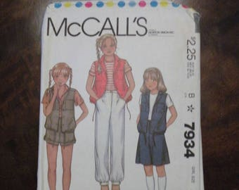 1987 Used Vintage McCall's Pattern 7934 Girl's Vest, Pants or Shorts and Culottes Size 8