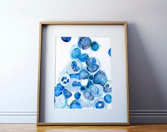 Bone Marrow Watercolor Print - Histology Art - Abstract Anatomy Art