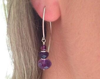 Purple Amethyst Silver Dangle Earrings