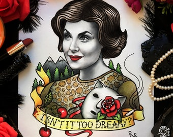 Original painting and prints! Twin Peaks. Portrait of Audrey Horne. Tattoo Flash Poster Retro