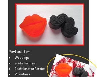 20 Mustache and Lip Soap Sets, Mustache and Lip Gift Set, Mustache and Lip Soap Favors, Wedding Favors, Bachelor Favors, Bridal Shower Favor