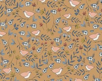 Love Story - Lovebirds Amber- Maureen Cracknell - Art Gallery Fabrics - Fabric By the Half Yard
