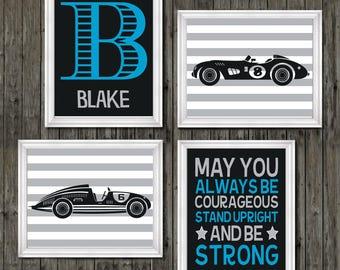Vintage race car prints, vintage car nursery, race car nursery theme, boys race car nursery, race cars, boys racing bedroom, blue racing