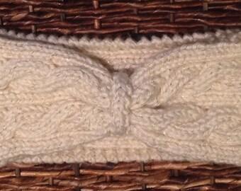 Cable knit cream sparkle headband