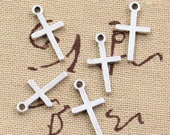 15 CROSS Charms Two Sided Antique Silver Religious Charm Bracelet Bangle Bracelet Pendants #721