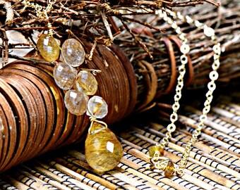 Rutilated Quartz Drop Necklace