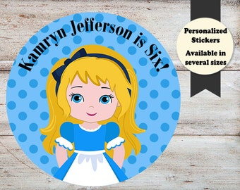 Alice In Wonderland Stickers, Alice In Wonderland Birthday Stickers, Alice In Wonderland Party Favors, Personalized Birthday Stickers
