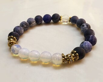 Opal Bracelet. Sodalite Bracelet. Gemstone Bracelet. Mala Yoga Bracelet. Healing Bracelet. Mala Prayer Beads. Blue Bracelet. Reiki. #M159