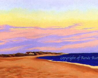 "CAPE COD Seascape Truro Cornhill Beach Wellfleet Ocean 8x10"" Matted Print"
