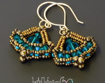 SALE Victorian Parlour Earrings in Teal Crystal Bronze with Gold Filled Wire