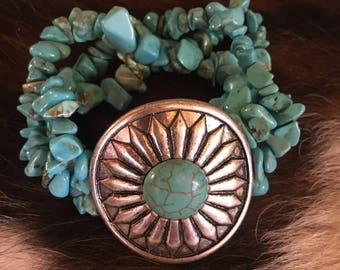 Cowgirl Cuff Bracelet With Turquois Chunk