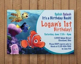Finding Nemo Birthday Invite - 7x5