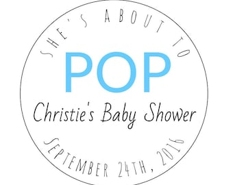 12 She's About to Pop Stickers, Pop Stickers, About to Pop Labels, Bottle Labels, Baby Shower Labels, Goodie Bag Labels, Baby Shower Sticker