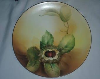 Vintage Nippon Salad plate,Nippon Collector plate, Chestnut plate,Nippon hand painted chestnut plate