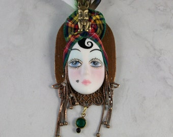 Mardi Gras Flapper Face Mask with Tartan Turban and Feathers OOAK Scottie Brooch Pin - P-123s