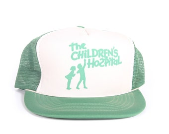 Vintage Green Trucker Cap / Children's Hospital Trucker Hat / Mens Hat / Mesh Mens Trucker Hat Cap / Baseball Cap /  Retro Hat