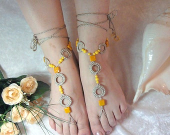 Barefoot  sandals  with beads-Ready  to  Ship