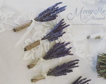 Lavender Boutonniere - Lavender Boutonnieres - Dried Lavender Boutonniere - Lavender Lapel - Rustic Boutonniere