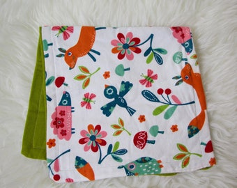 Baby Girl Floral Print Burp Cloth, Lime Green, Bird Burp Cloth,Floral Burp Cloth, Baby Burp Cloth, Flannel Burp Cloth for Girls