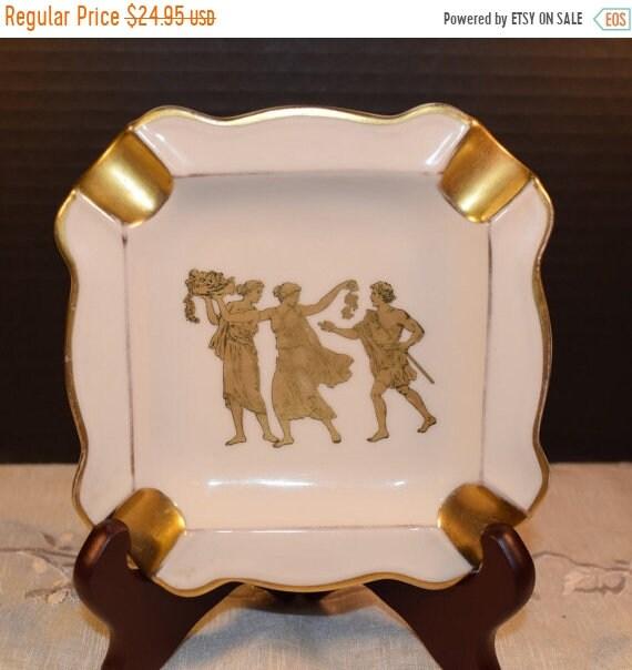 Delayed Shipping Bavaria Greek Ashtray Vintage Gold Grecian Ashtray Square Gilded Ashtray West Germany Bavaria Fine Porcelain Grecian Scene