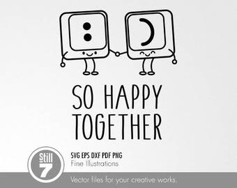 So Happy Together - Keyboard Keys - svg dxf eps pdf png