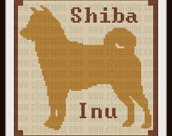 Shiba Inu C2C Graph, Shiba Inu Silhouette, Shiba Inu Crochet Pattern, Shiba Inu afghan