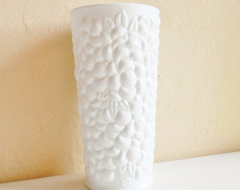 Large Thick Milk Glass Vase with Flowers Floral Design