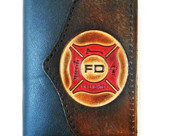 """Hand-Crafted """"Firefighter"""" Leather Tri-fold Wallet"""
