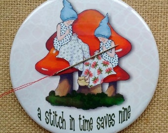 """Needle Holder and Fridge Magnet, 3.5"""", Gnomes Sewing, Toadstools, From Original Art, Whimsical Fantasy, Sewing Gadget"""