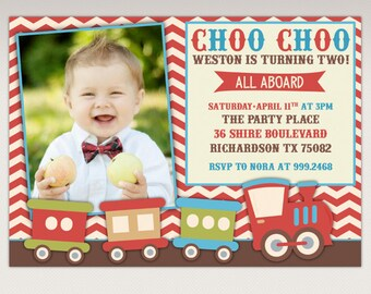 Vintage Choo Choo Train Birthday Party printable Photo invitation - Chugga Chugga Train Birthday Party Invite #308