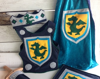 Dragon Knight Costume Gift Set TEAL and NAVY - Super Hero Costume - Halloween Costume - Kid Costume