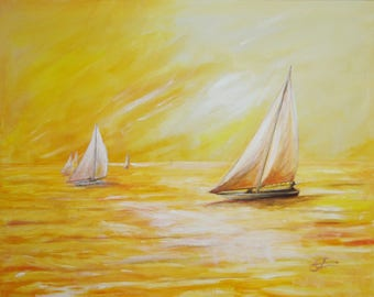 "PAINTING - ""In gold of the night"", acrylic on canvas painting"