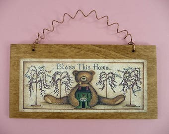 WOOD SIGN Bless This Home Wooden Metal Cute Homespun Primitive Bear Saltbox House Brown Faith Hope Love Family Friends Laughter Welcome