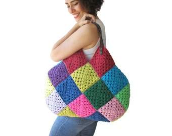 Colorful Granny Sguare Afghan Croched Handbag With Leader Handles