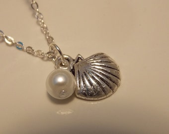Silver Shell and Pearl Necklace