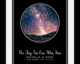 1 Location star map constellation chart personalized gift for couple romantic new home housewarming engagement unique anniversary night sky